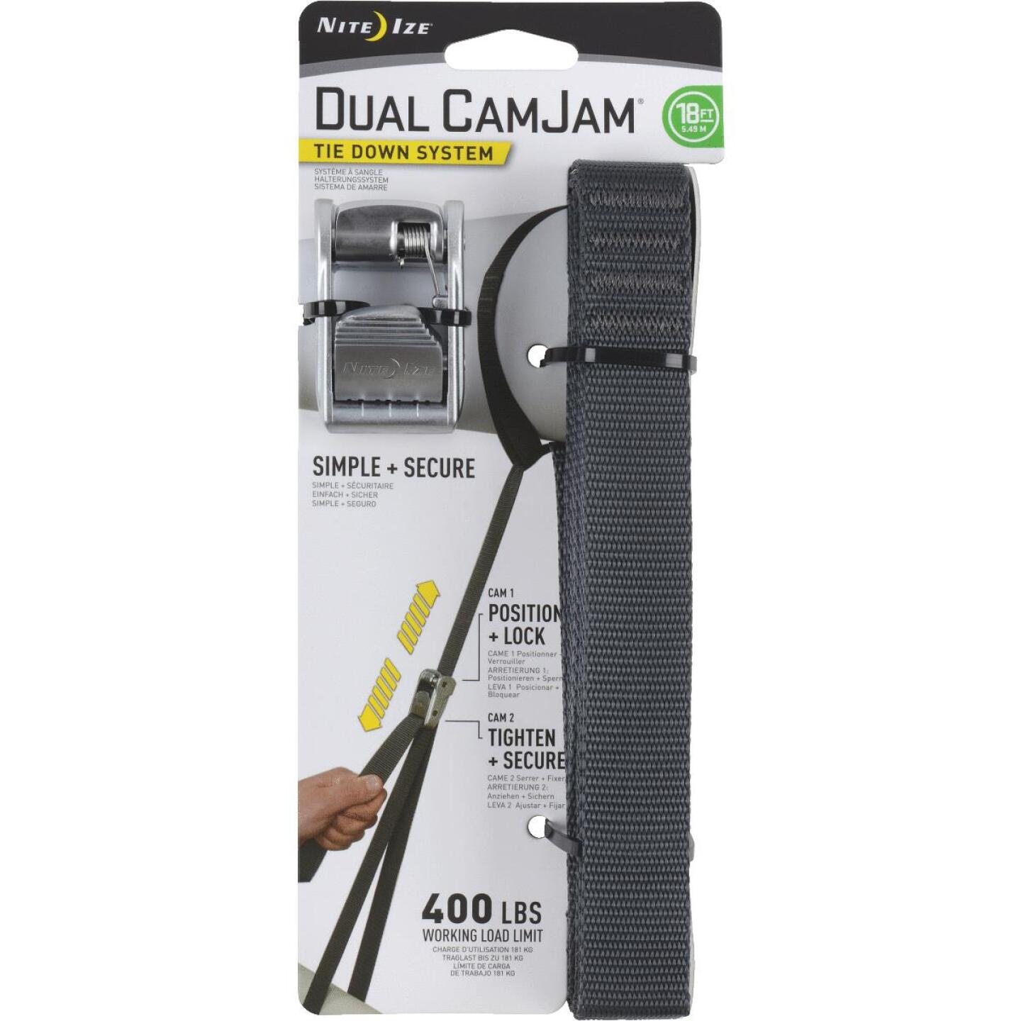 Nite Ize Dual CamJam 1 In. x 18 Ft. 400-Lb. Working Load Limit Tie-Down Strap Image 1