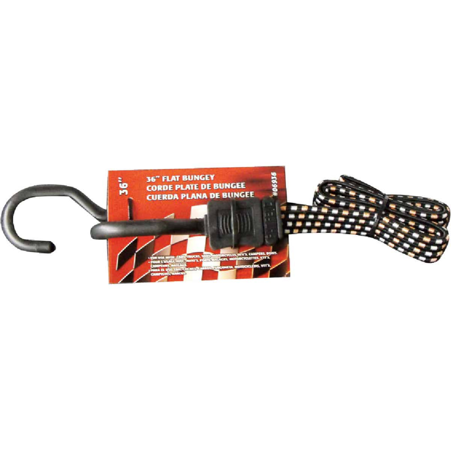 Erickson 3/4 In. x 36 In. Flat Bungee Cord, Black/White Image 1