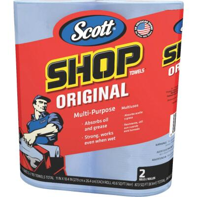 Scott 11 In. W x 10.4 In. L Disposable Original Shop Towel, (2-Roll/110-Sheets)