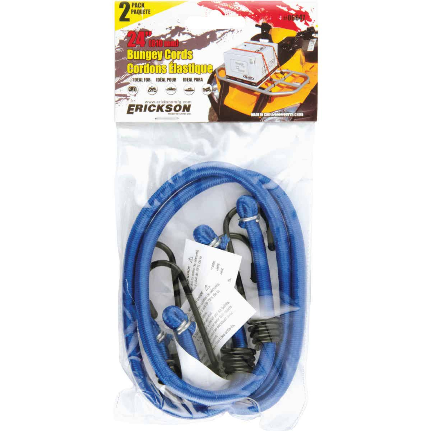 "Erickson 8mm x 24"" Vinyl Coated Steel Bungee Cord Set Image 2"