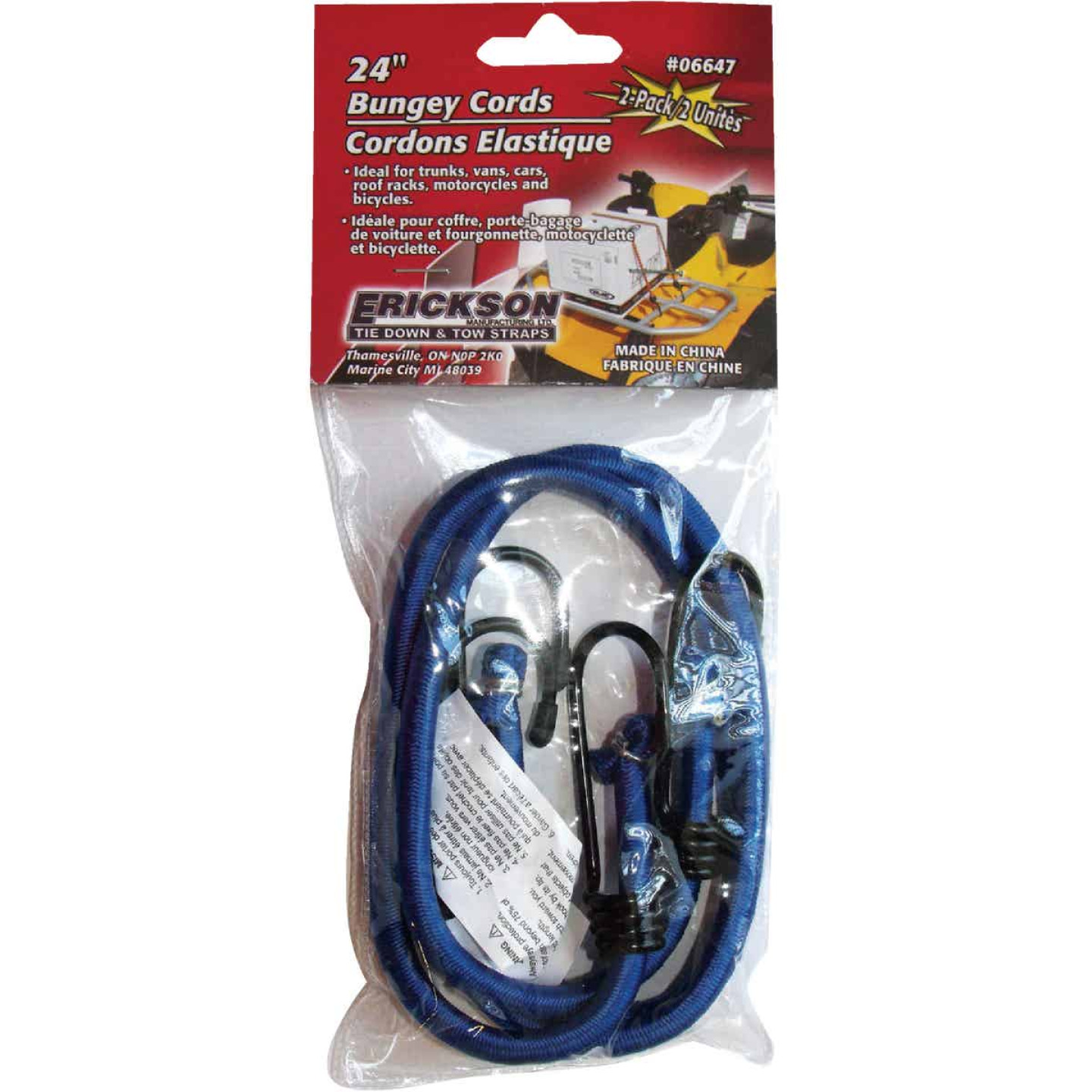 "Erickson 8mm x 24"" Vinyl Coated Steel Bungee Cord Set Image 1"