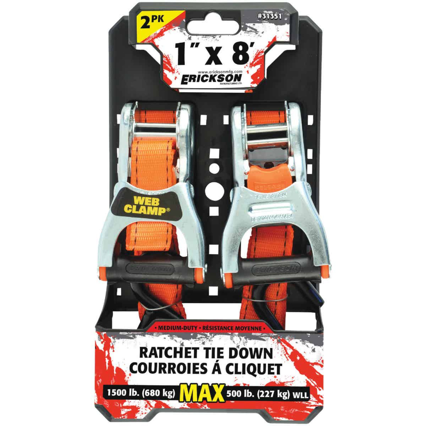 Erickson 1 In. x 8 Ft. Ratchet Strap with Web Clamp (2-Pack) Image 2