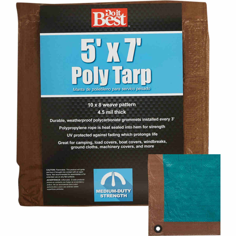 Do it Best 1 Side Green/1 Side Brown Woven 5 Ft. x 7 Ft. Medium Duty Poly Tarp Image 1