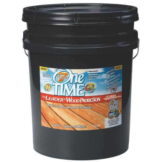 One TIME Natural Wood Preservative, Protector & Stain All In One, 5 Gal.