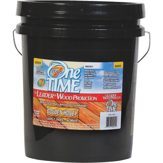 One TIME Golden Honey Wood Preservative, Protector & Stain All In One, 5 Gal.